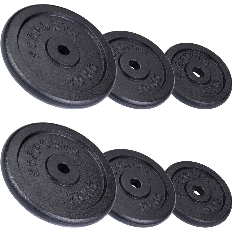 ScSPORTS 60 kg Hantelscheiben-Set 2X 15 kg, 2X 10 Kg, 2X 5 kg Guss Gewichte mit 30/31 mm Bohrung, durch Intertek geprüft + Besteanden¹