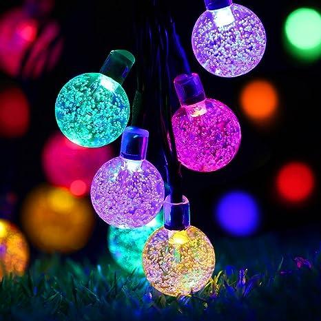 Solar Weihnachtsbeleuchtung.Solar Lichterkette Aussen Mit 40 Led Kupeln Trylight 7 5m Bunt Led Lichterketten Wasserdicht Weihnachtsbeleuchtung Fur Garten Party Baume Halloween