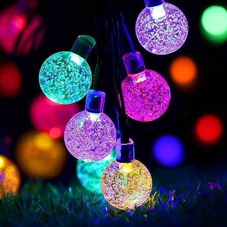 Solar Lichterkette Außen mit 40 Led Kupeln, TryLight 7.5m Bunt LED lichterketten, Wasserdicht Weihnachtsbeleuchtung für Garte
