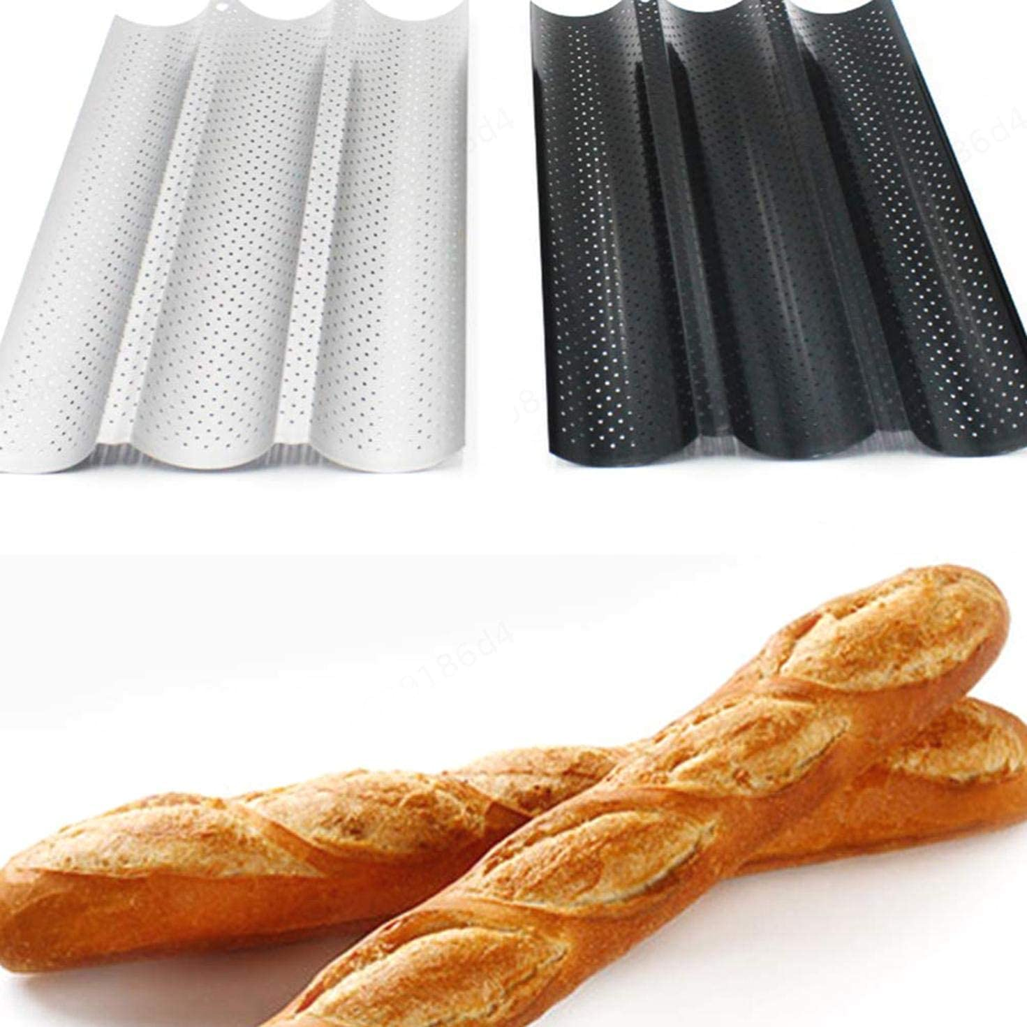 Nhouyao Bread Baking Tray French Bread Baking Pans Non Stick Baguette Loaf Mold Frame Rack For