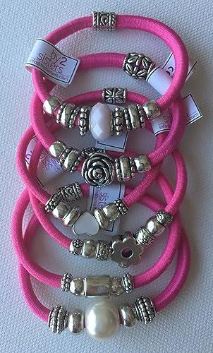 Pack pulseras - coleteros rosas: Amazon.es: Handmade