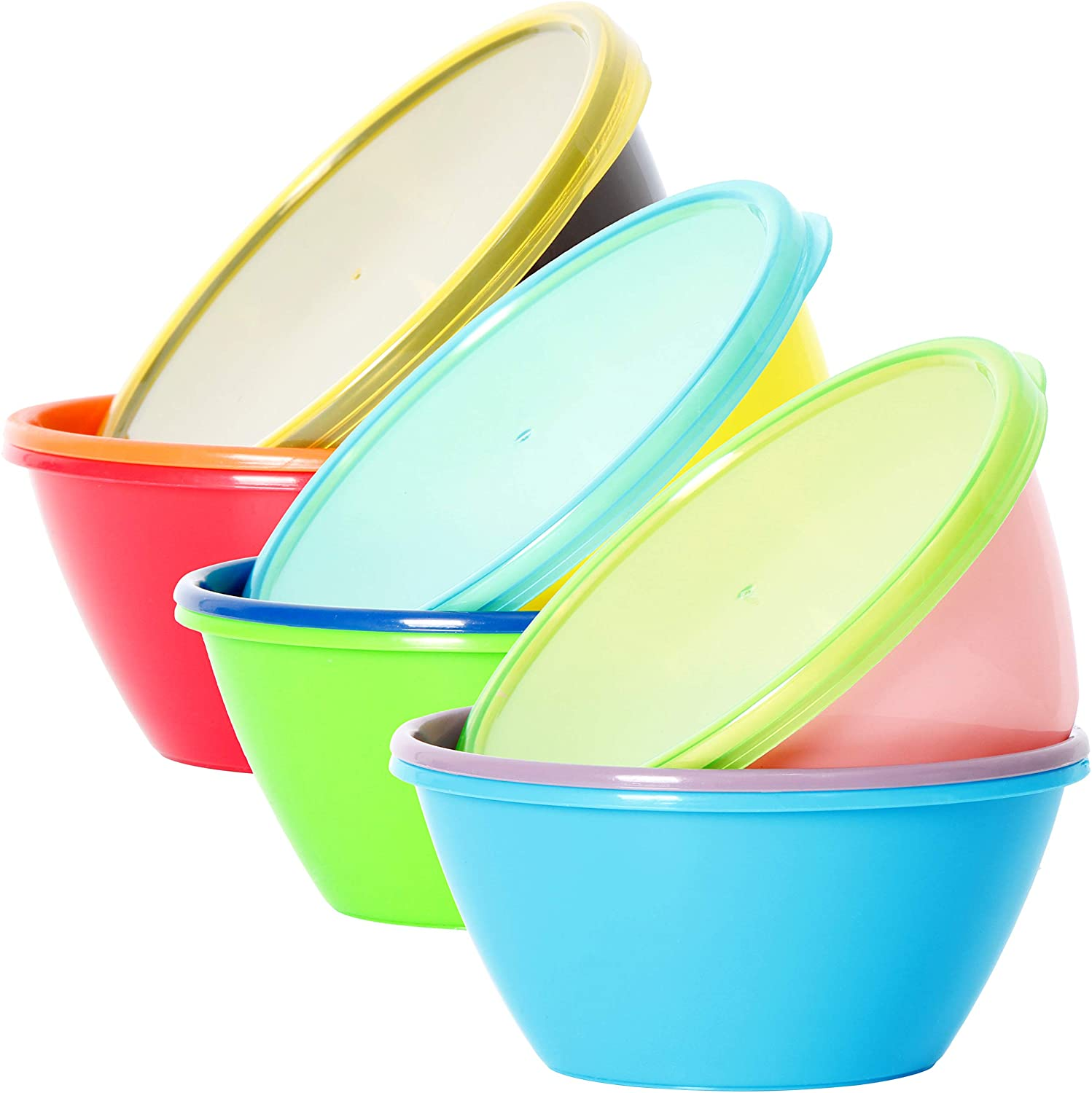 Youngever 12 Ounce Plastic Bowls with Lids, Snack Bowls, Small Bowls, Food Storage Containers, Microwave Safe, Dishwasher Safe, Set of 9 in 9 Assorted Colors