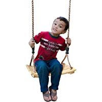 SUMMERSDREAM Kids Tree Wood Swing ? Wooden Swingset Seat with Adjustable Length Heavy Duty Rope - Indoor or Outdoor Installation - Playground Equipment