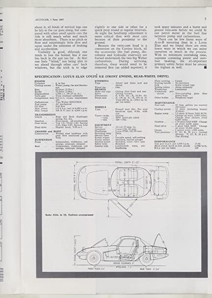 Amazon.com: 1967 Lotus Elan Coupe SE Roadtest Brochure: Entertainment Collectibles