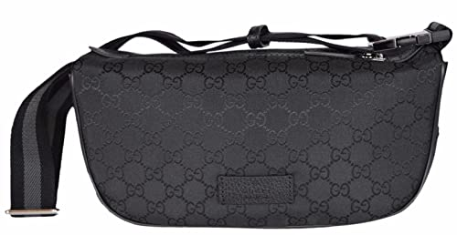 9e9ab5a1657 Image Unavailable. Image not available for. Colour  Gucci Black Canvas GG  Guccissima Web Stripe Fanny Pack Waist Sling Bag
