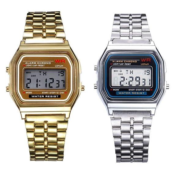Reloj de pulsera de cronómetro con alarma digital de acero inoxidable y oro de 2 piezas: Amazon.es: Relojes