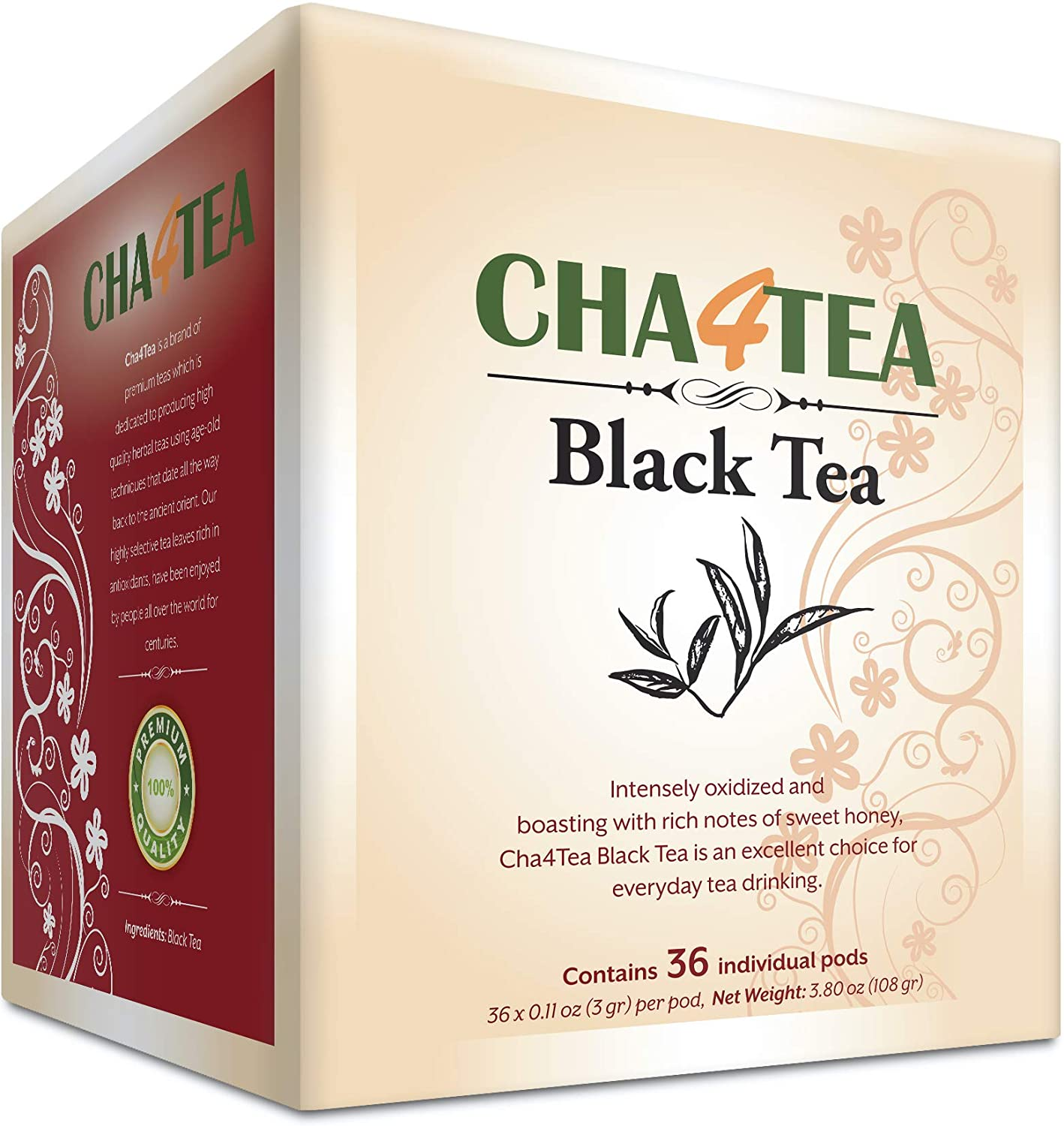 Cha4TEA 36-Count Black Tea Pods for Keurig K-Cup Brewers