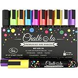 Chalk Pens - Pack of 10 neon colour markers. Used on Whiteboard, Chalkboard, Window, Blackboard - 6 mm Bullet Tip with 8 gram Ink