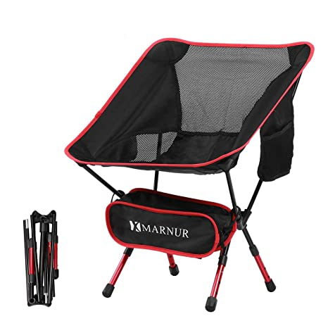 MARNUR Folding Camp Chair Portable Ultralight Camping Chairs Lightweight for Outdoor Fishing Hiking Beach Compact with Aluminum-Alloy Frame//Breathable Fabric//Side Pockets//Carry Bag//Adjustable Height