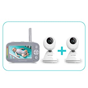 Summer Baby Pixel Cadet Video Baby Monitor with 2 Cameras - Baby Video Monitor with Clearer Nighttime Views and SleepZone Boundary Alerts