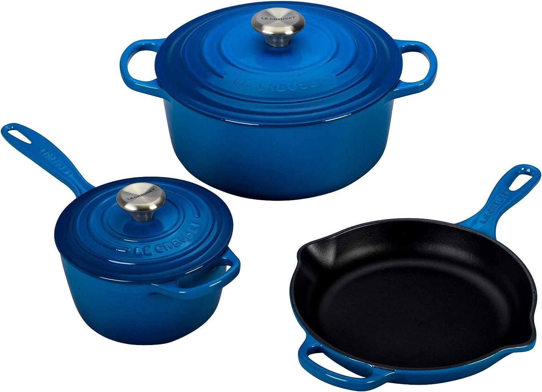 """Le Creuset Signature Cast Iron Porcelain Enamel nontoxic Cookware Set. 6 Best Healthy Non-Toxic Cookware Options: """"2021 Guide"""""""