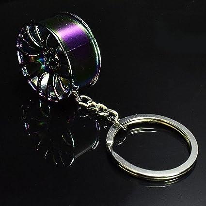 Llavero de RUNGA, con diseño de llanta de coche, creativo, para las llaves del coches, ideal como regalo, metal, Colorful