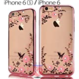 KC Shockproof Silicone Soft TPU Transparent Auora Flower Case with Sparkle Swarovski Crystals for iPhone 6 & iPhone 6s, (Rose Gold)