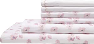 Elite Home Products Inc. Spring Meadow Microfiber Print Embroidered Bed Sheet Set, Rose, Queen