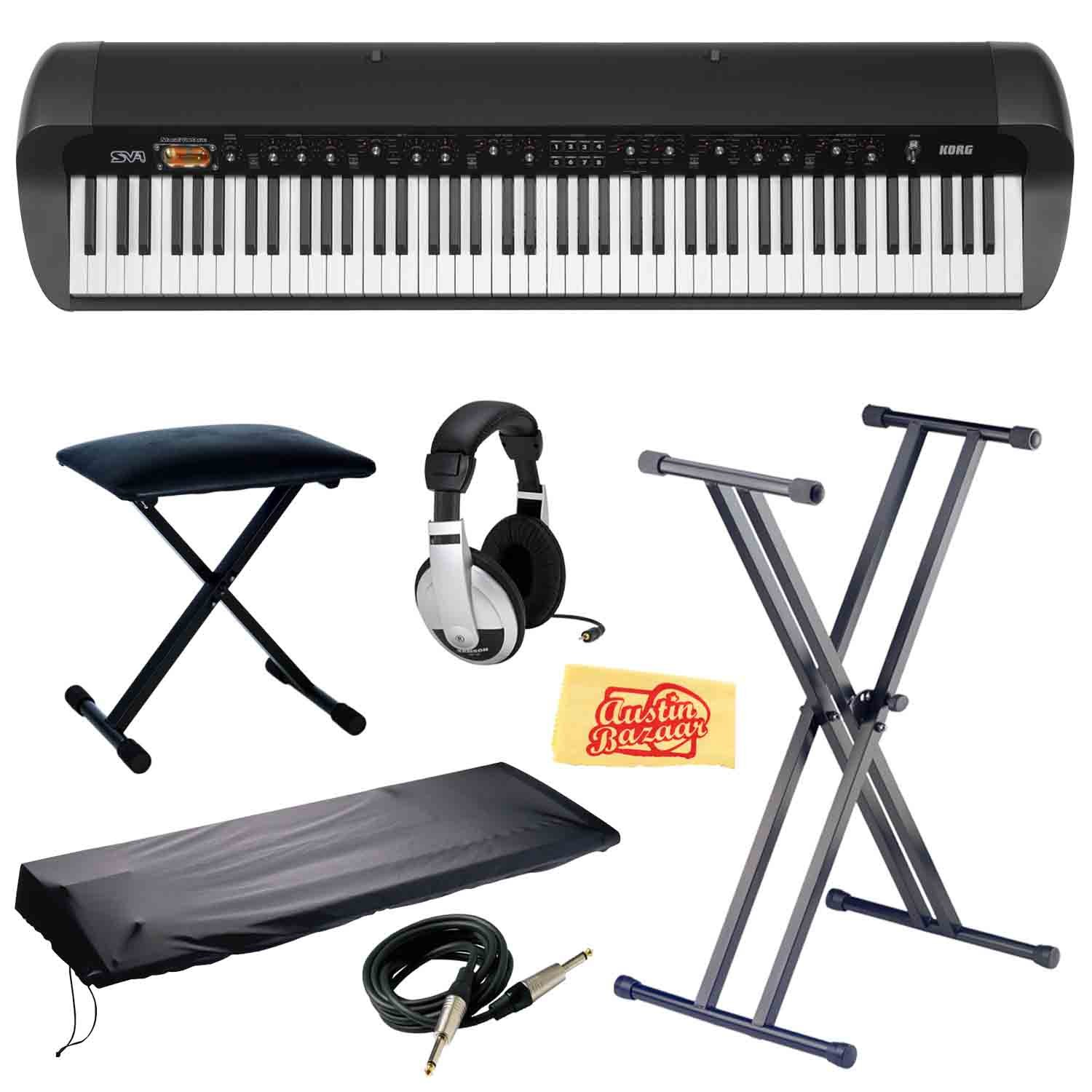Korg SV-1 Stage Vintage Piano - Black Bundle with Stand, Bench, Dust Cover, Instrument Cable, Headphones, and Polishing Cloth
