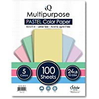 iQ Multipurpose Pastel Colored Copy Paper, Laser and Inkjet Compatible, 8.5 x 11 Inches, 24 Lb, 90 GSM, 100 Sheets…