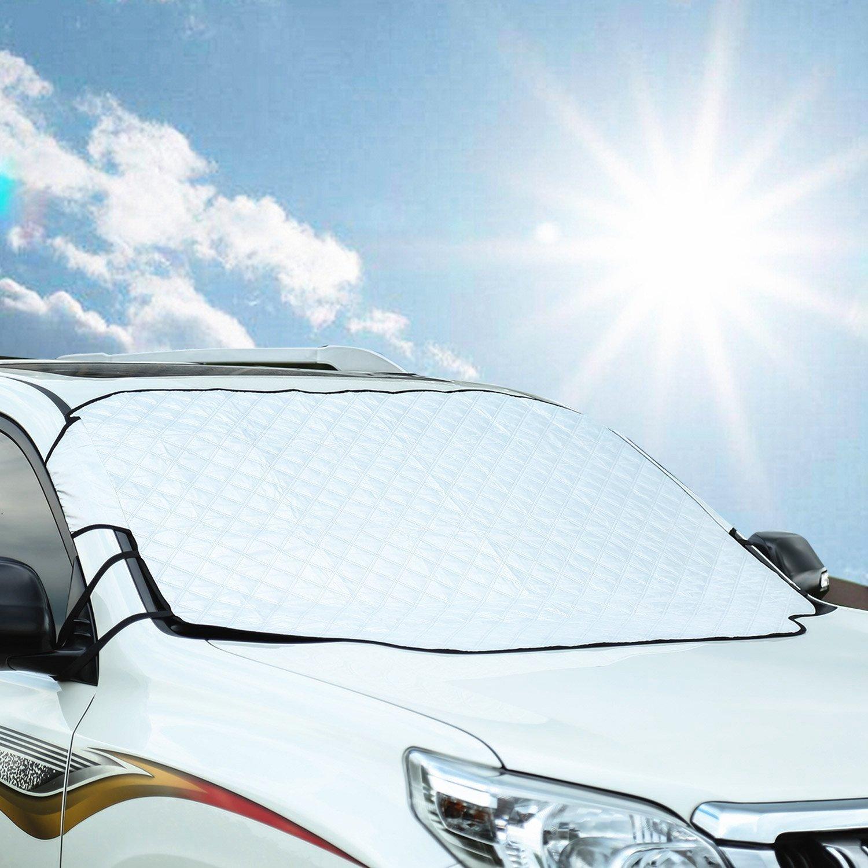 Freeauto Protector de Parabrisas Cubierta de Nieve y de Sol Antihielo Funda de Parabrisa Universal para Coche