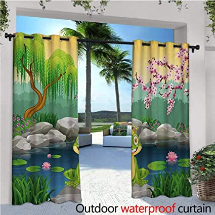 7cd3b4f54cd9 King Outdoor- Free Standing Outdoor Privacy Curtain Fairytale Inspired Cute  Little Frog Prince Near Lake on Moss Rock with Flowers Image for Front  Porch ...