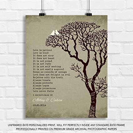 9e79a5f981b Personalized Gift for 10th Wedding for Couple 1 Corinthians 13 Love is  Patient Faux Texture Background