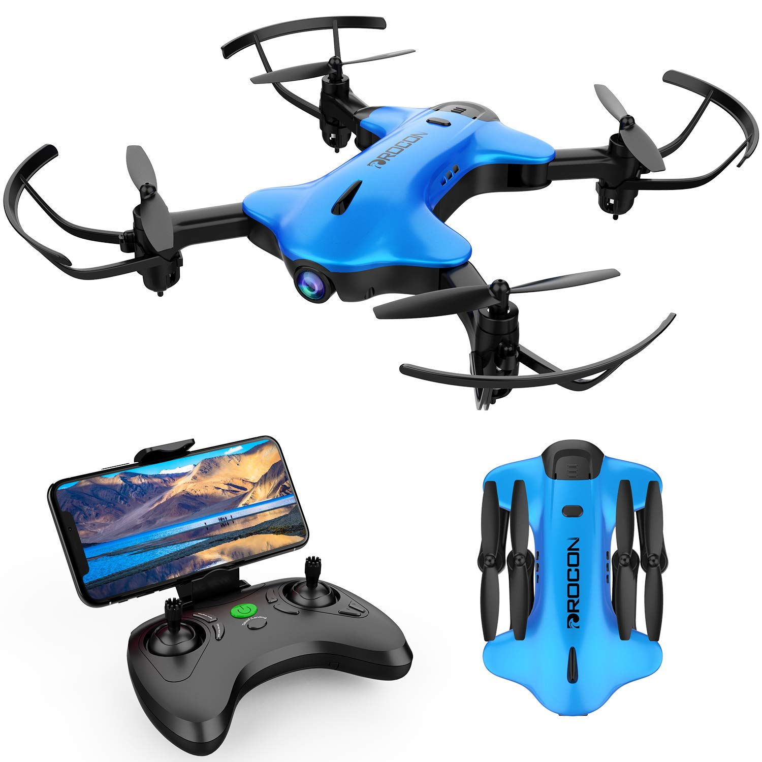 DROCON Ninja FPV Drone with 720P HD Wi-Fi Camera Live Video Feed 2.4GHz 6-Axis Gyro Quadcopter for Kids and Beginners with Altitude Hold, Foldable Arms, One Key Take Off/Landing, Color Blue
