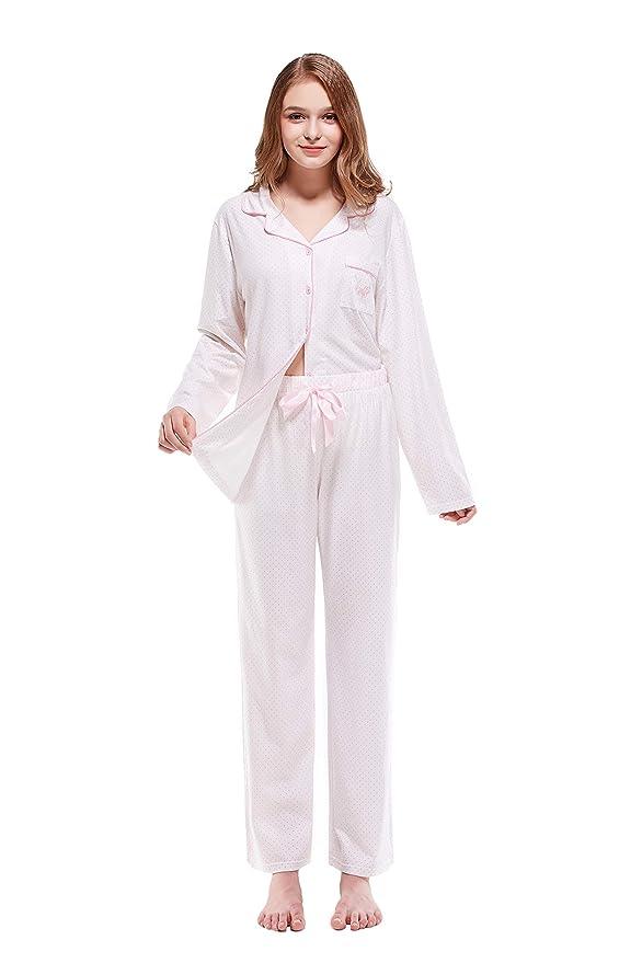 Keyocean Pajama Set for Women Soft All Cotton Long Sleeves Sleepwear or  Lounge-wear Set White at Amazon Women s Clothing store  013e8793f