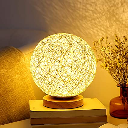 Mydethun Desk Lamp For Living Room For Bedrooms Bedside Lamp Birthday Gifts For Women For Kids Home Living Room Bedroom Decor Solid Wood Rattan Moon