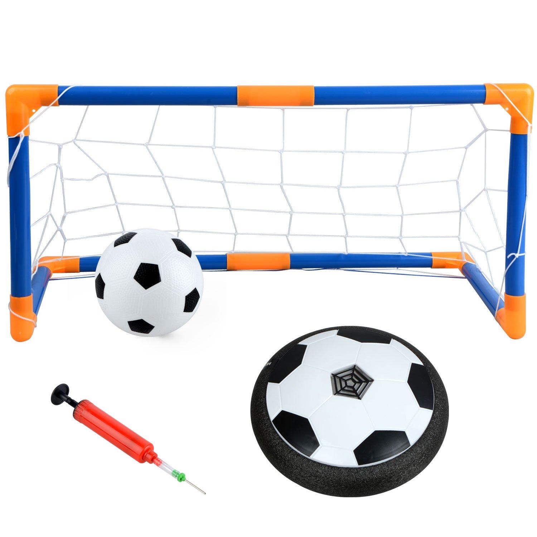 uhbgt Hoverボール、強力なLEDライトエアパワーサッカーディスクHoverボールセットフローティングフットボールトレーニングサッカーToy with 2 Gates、フットボール、Inflator、男の子のためのギフトGirlsインドアアウトドア L L5LY53I51632QY9GA B07CZHWGGP Without Music L