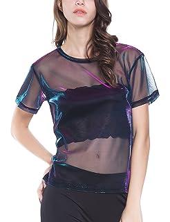 b39c21fc Holographic Mesh Shirt Metallic Shimmer See Through Shiny Top for Women
