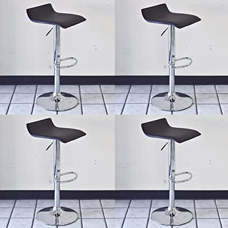 Bar Stool Black Barstools Adjustable Swivel Chair Set of 4