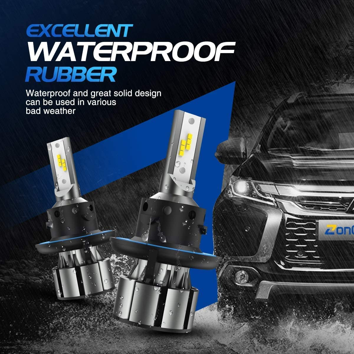 6500K White Extremely Bright Light 12V 2 Pack//Kit ZonCar H13 // 9008 LED Headlight Bulbs with Fan High//Low Beam Halogen Replacement 12 CSP Chips