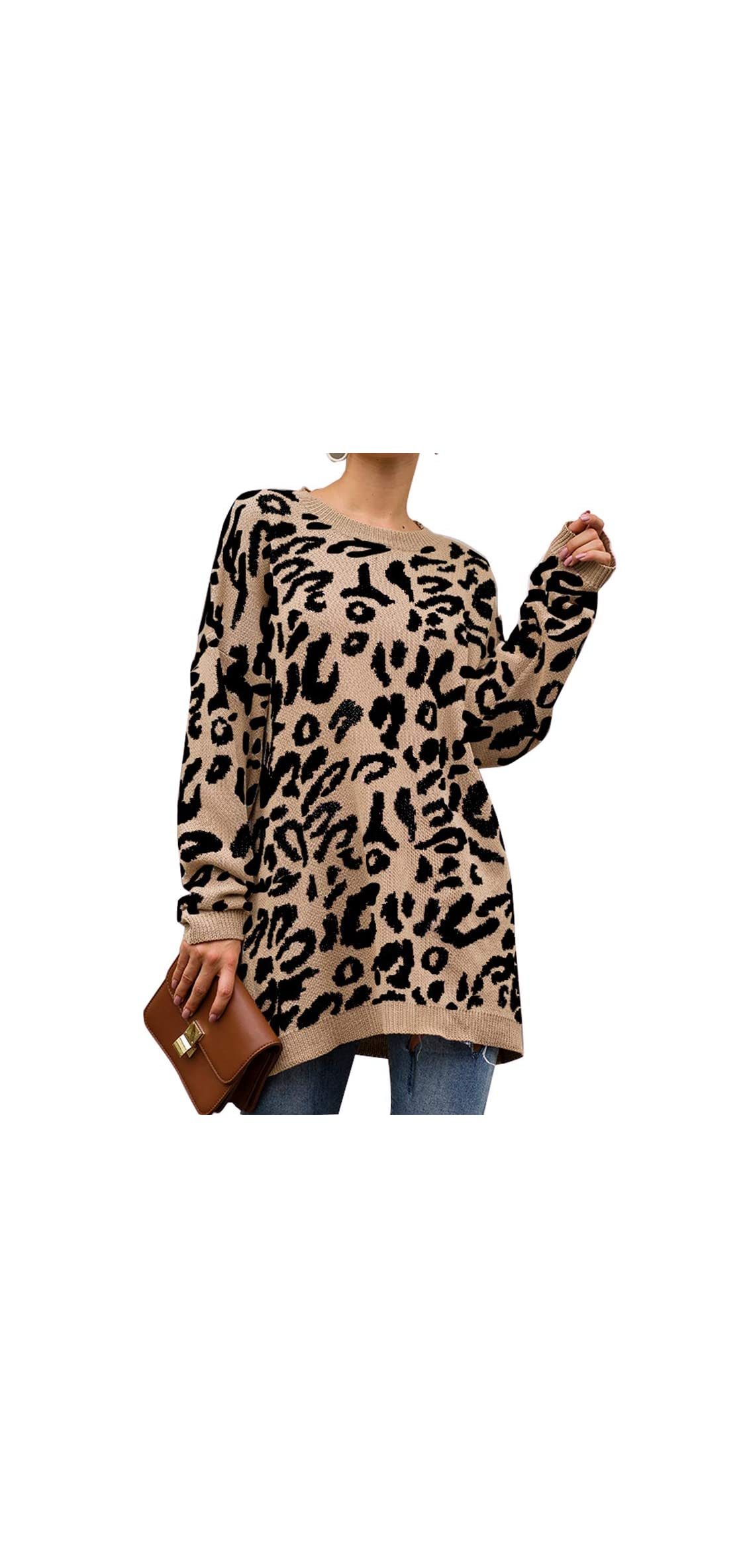 Womens Casual Leopard Print Long Sleeve Crew Neck