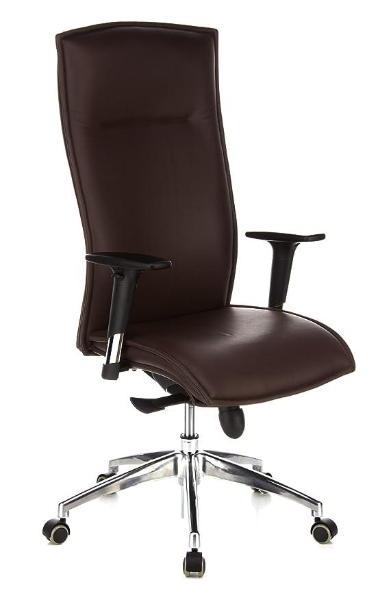 hjh OFFICE - 600040 silla de oficina MURANO 20 cuero marrón oscuro, cuero real, con apoyabrazos, respaldo alto, buen acolchado, cromado, buen ...