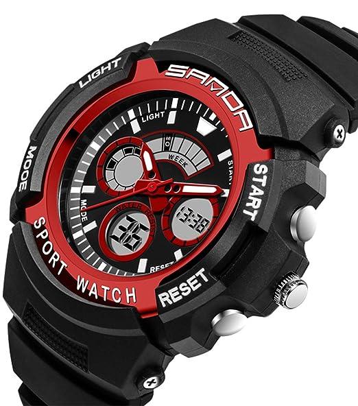 Niños Dual Dial analógico Digital reloj de deporte electrónico para al aire libre senderismo natación Running Negro + Rojo: Amazon.es: Relojes