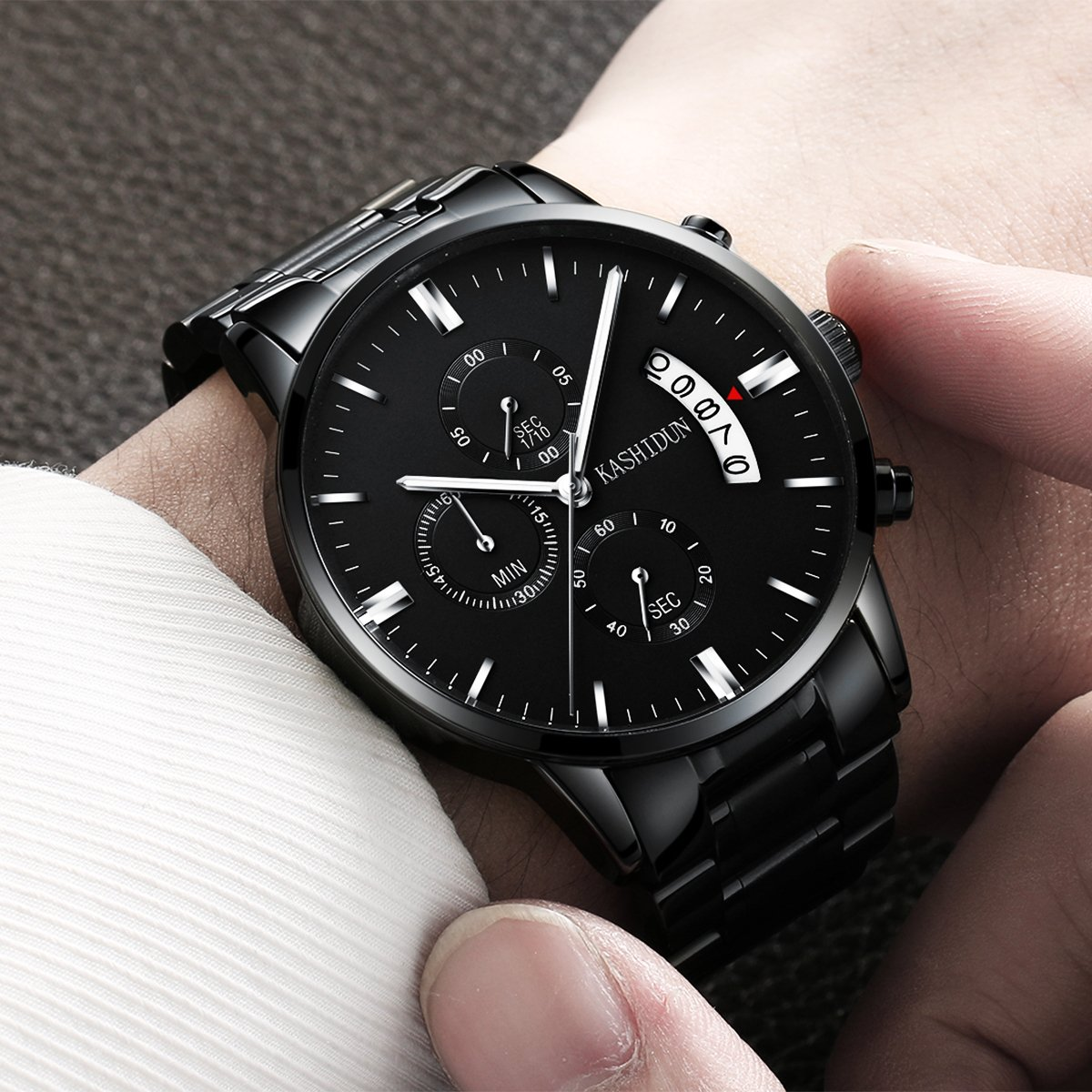 Mens Stainless Steel Watches Men Chronograph Waterproof Sport Date Quartz Wristwatch Classic Watch Black Color by KASHIDUN (Image #3)