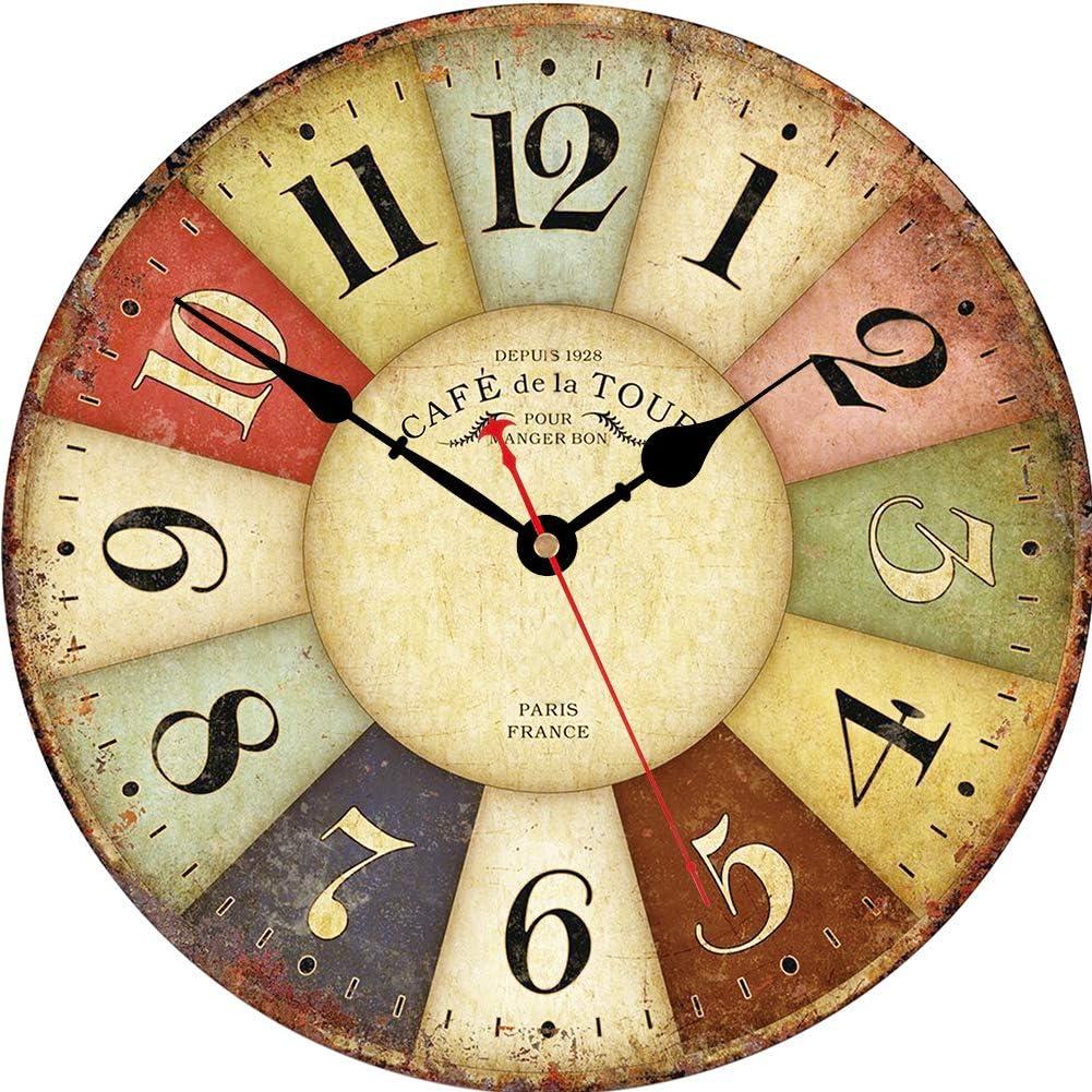 VIKMARI los números en Silencio para no Hacer tictac del Reloj de Pared rústica Romana Redonda de Madera Decorativo de la Pared Relojes 14 Inch Paris Francia