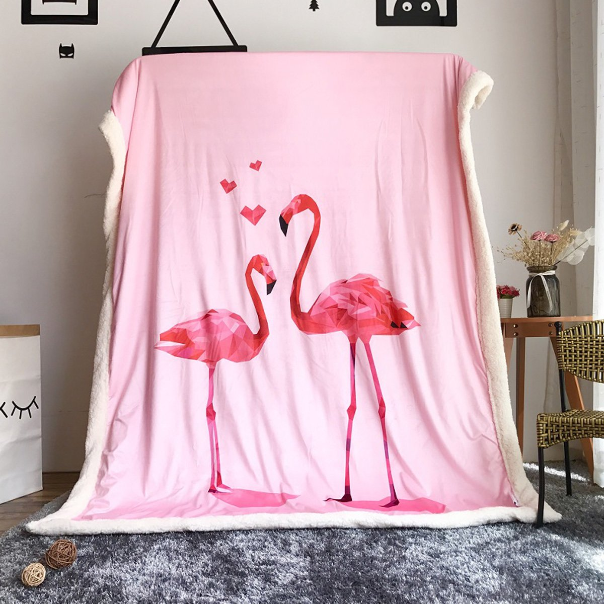 Laugh Cat Pink Flamingo Throw Blanket Nap Blanket for Office Study Kids' Bedding Tapestry Wall Hanging … (Pink)
