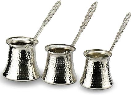 Juego de 3 bandejas de caf de cobre, exterior con revestimiento de nquel, interior estaado apto para alimentos, tetera de cobre para moka: Amazon.es: Hogar