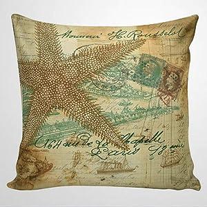 DONL9BAUER Decorative Square Throw Pillow Covers Nautical Pillowcase, Shell, Beach, French, Seashells Cushion Cover Seashell Decor Farmhouse Home Decor for Sofa Couch 18x18