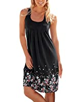 CadeVic Women's Casual Loose Floral Mini Print Pleated Sleeveless Sundress A-Line Beach Dress