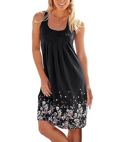 Cadevic Women's Casual Loose Mini Print Pleated Sleeveless Sundress A-Line Beach Dress