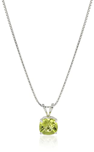 Sterling Silver Cushion-Cut Checkerboard Created or Genuine Gemstone Pendant Necklace