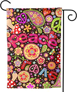 YISHOW Hippie Peace Symbol Mushrooms and Paisley Garden Flag Double Sided Vertical Hippie Peace Sign Mushrooms and Paisley House Flags Yard Signs Outdoor Decor 12.5