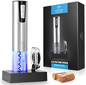 Zulay Electric Wine Opener With Charging Base and Foil Cutter - Stainless Steel Automatic Wine Bottle Opener - Rechargeable Electric Wine Bottle Opener - Wine Opener Electric Corkscrew Opener