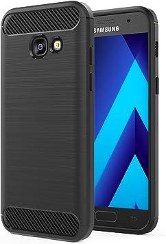 MoKo Compatible con Samsung Galaxy A3 2017 Funda Ultra Slim Ligero Fibra de Carbono Flexible TPU Suave Amortiguador de Parachoques Goma de Absorción Case Cover para Galaxy A3 2017, Negro: Amazon.es: Electrónica