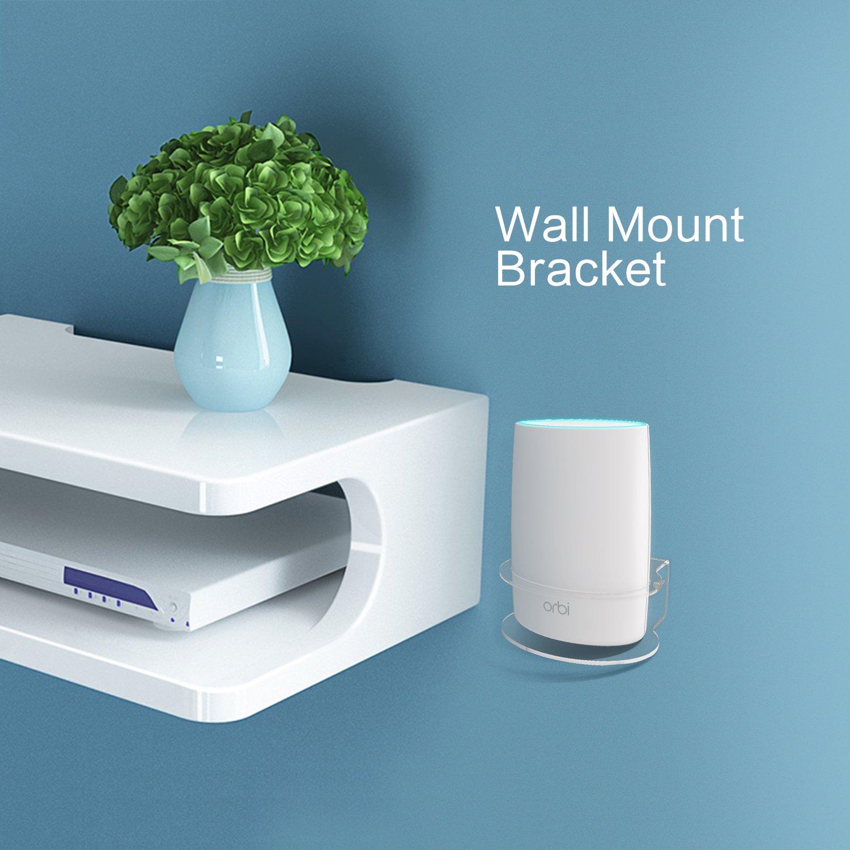1 Pack BASSTOP Sturdy Clear Acrylic Wall Mount Bracket for NETGEAR ORBI AC3000//AC2200 Tri Band Home WiFi Router- Netgear Orbi Wall Mount