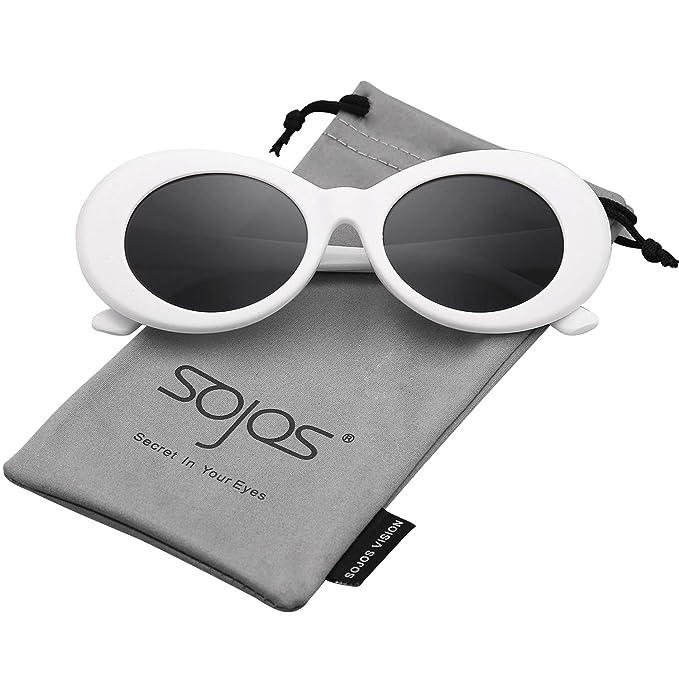 2fd748e91d Sojos Lentes De Sol Mod Oval Style Marco Grueso Retro Kurt Cobain Sunglasses  SJ2039 Marco Blanco