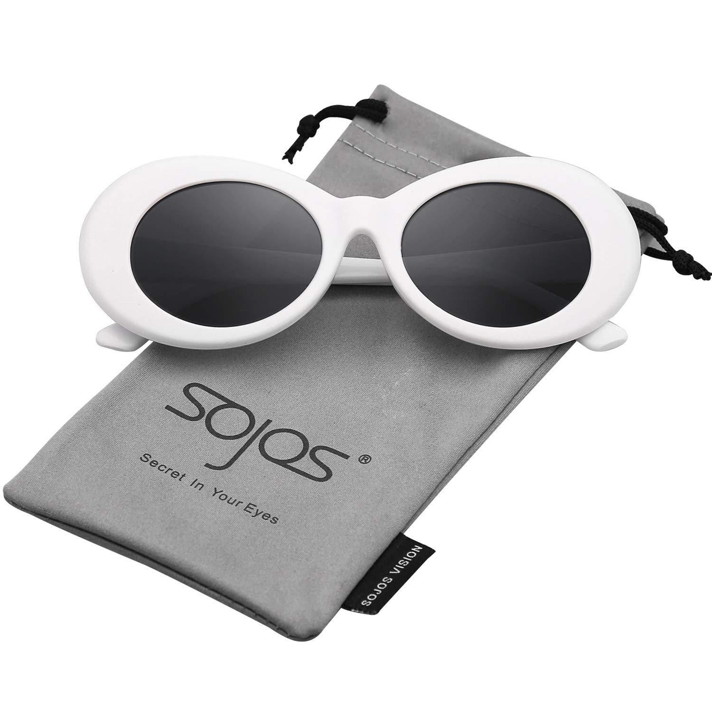 240c67cac5 Amazon.com  SOJOS Clout Goggles Oval Mod Retro Vintage Kurt Cobain Inspired  Sunglasses Round Lens SJ2039 with White Frame Grey Lens  Clothing