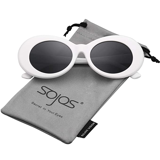 b879bc74c3ad SojoS Oval Mod Clout Goggles Retro Vintage Kurt Cobain Inspired Sunglasses  Round Lens SJ2039 With White Frame Grey Lens  Amazon.in  Clothing    Accessories