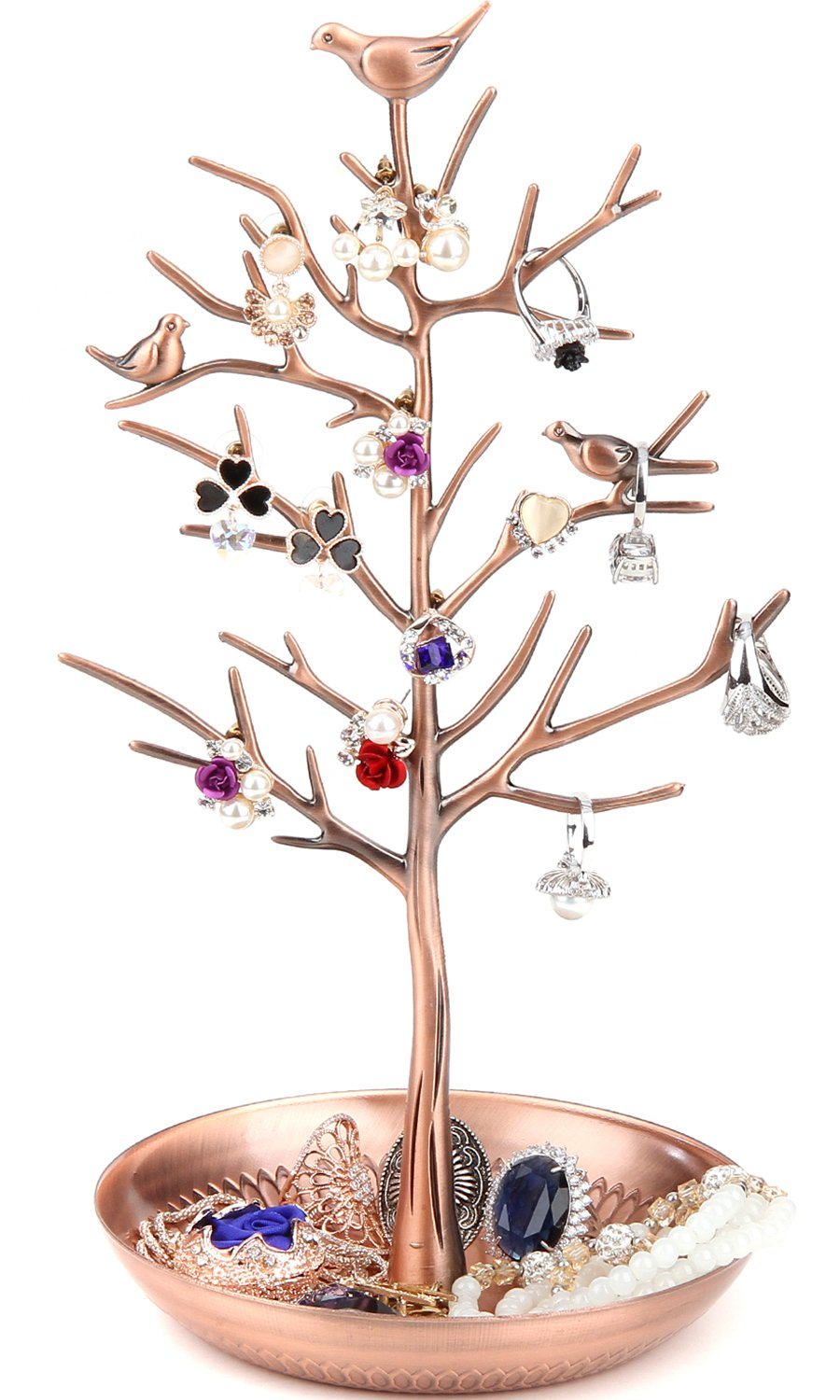 WELL-STRONG Earring Ring Holder Necklace Bird Decoration Jewelry Tower Tree for Girl Bronze