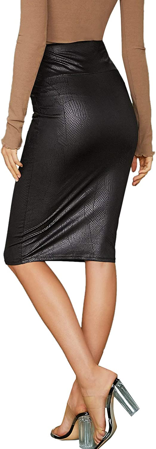 Floerns Womens Faux Leather Skirt Slim Fit High Waist Bodycon Pencil Skirt